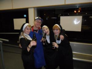 Working at Domino's in Scotland while working on  my worthless MLitt degree. (Halloween night - I missed out, but these nuns improved my night)